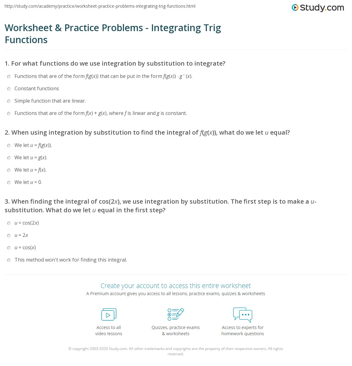 Worksheets Integration By Substitution Worksheet worksheet practice problems integrating trig functions study com print solving the integral of cos2x worksheet