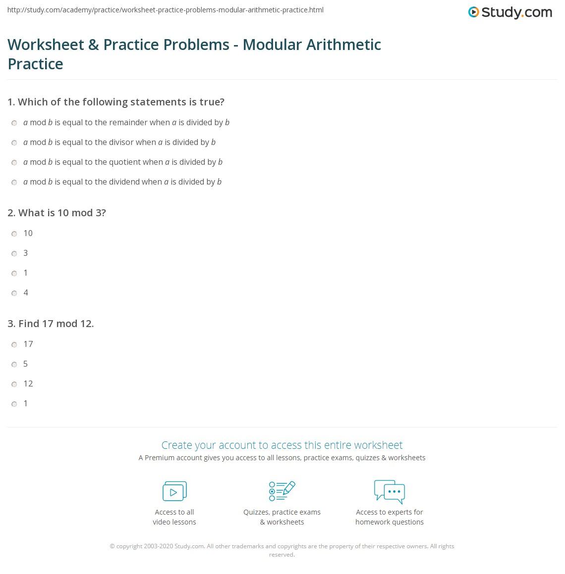 Worksheet & Practice Problems - Modular Arithmetic Practice | Study.com