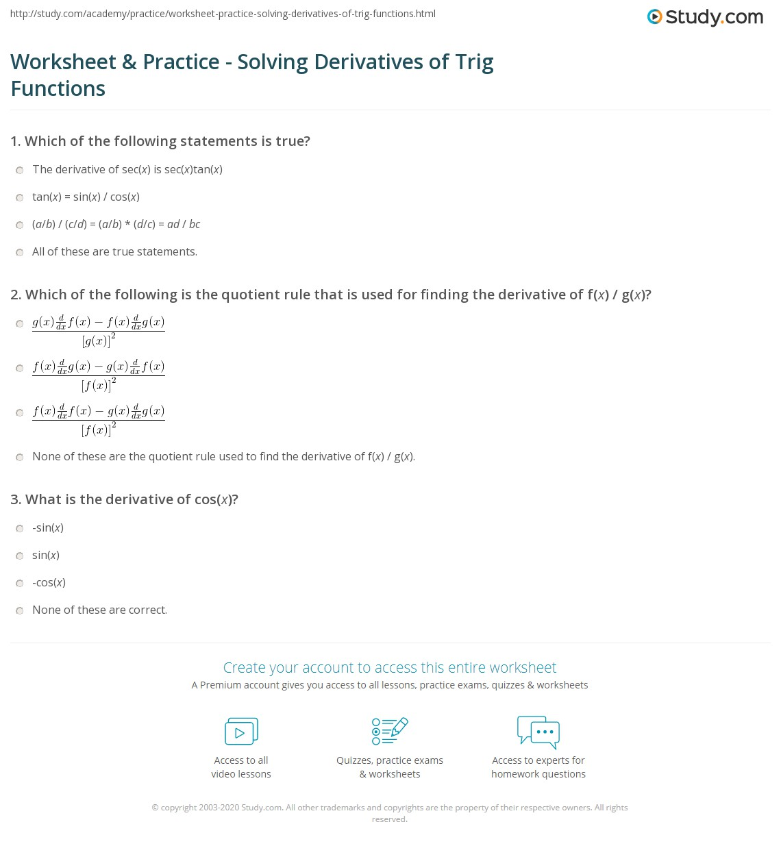Worksheet Practice Solving Derivatives of Trig Functions – Derivative Practice Worksheet