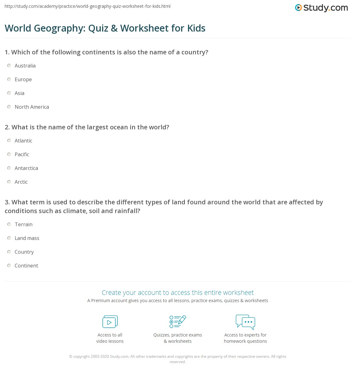 Worksheets World Geography Worksheet world geography quiz worksheet for kids study com print lesson worksheet