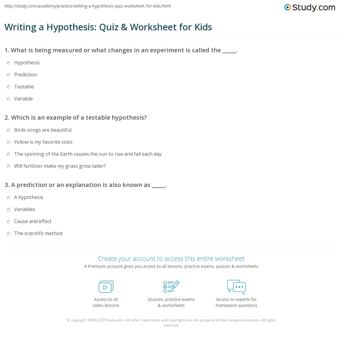 Writing A Hypothesis Quiz Worksheet For Kids Study