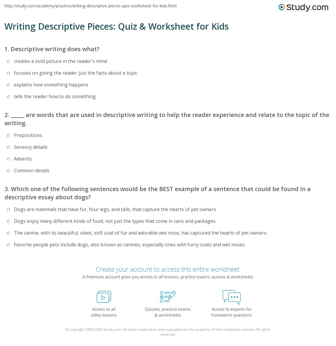 writing descriptive pieces quiz worksheet for kids com print how to write a descriptive paragraph or essay lesson for kids worksheet