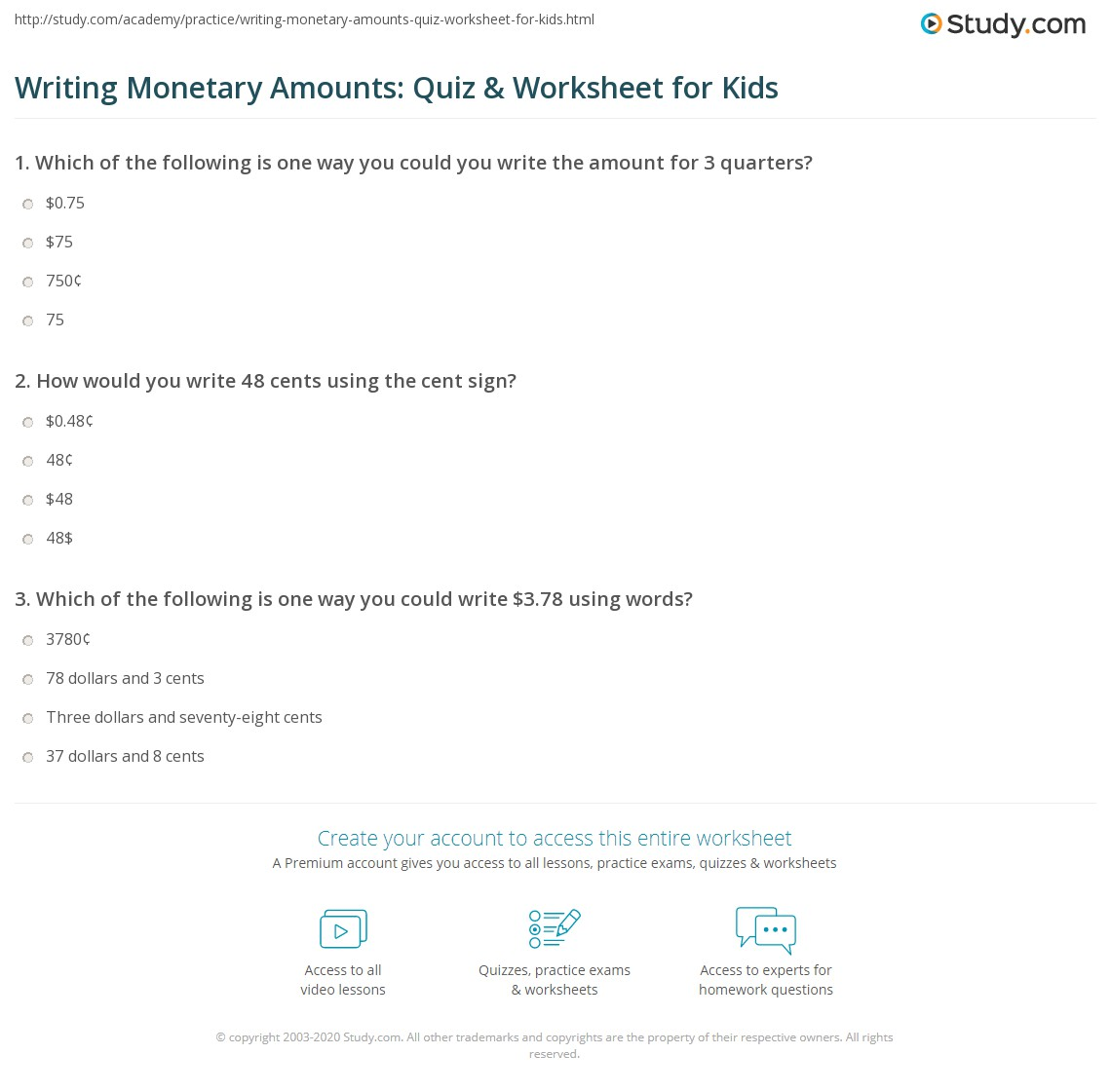 Writing monetary amounts quiz worksheet for kids study print how to write amounts of money lesson for kids worksheet ibookread PDF