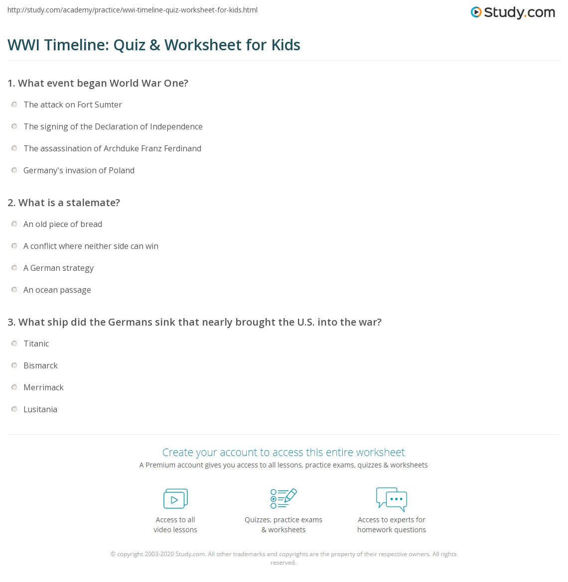 WWI Timeline: Quiz & Worksheet for Kids | Study.com