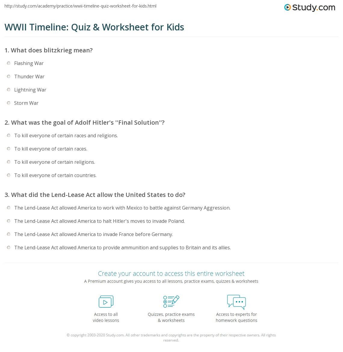 WWII Timeline: Quiz & Worksheet for Kids | Study.com
