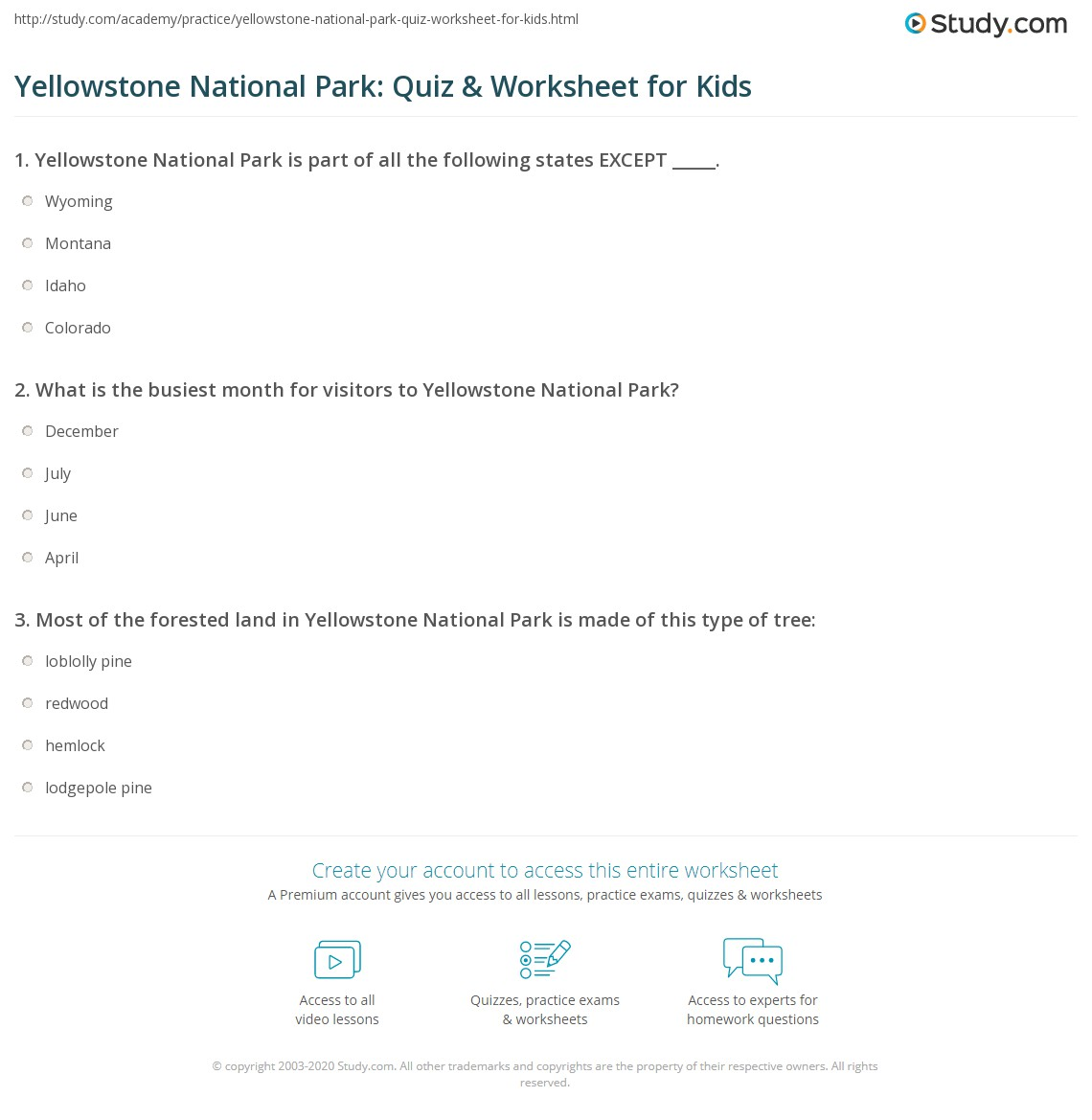 Yellowstone National Park: Quiz & Worksheet for Kids | Study.com