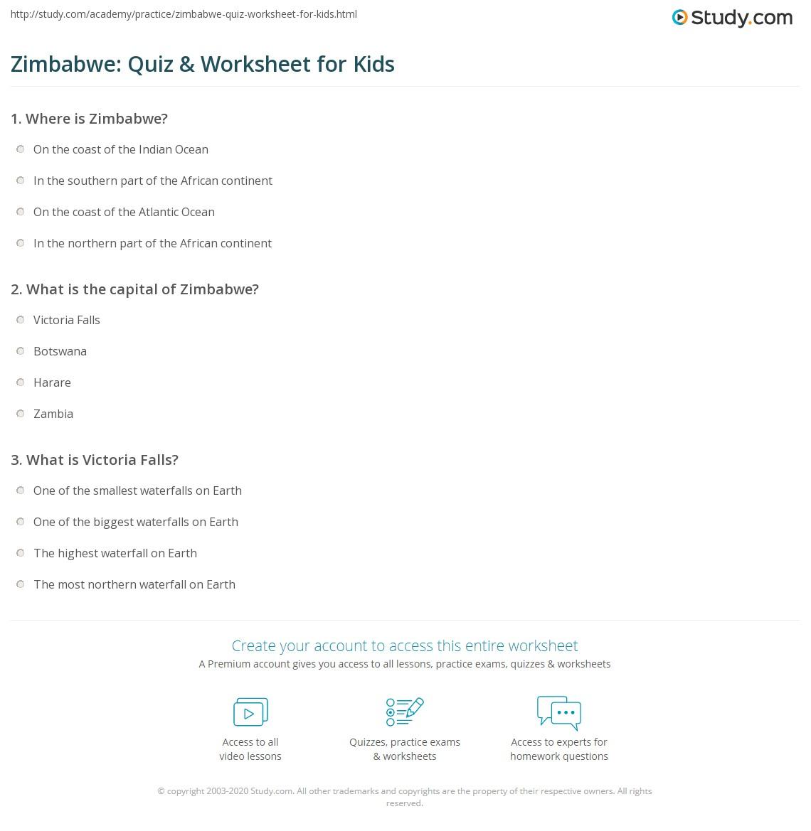 Zimbabwe Quiz Worksheet For Kids Studycom - Where is zimbabwe