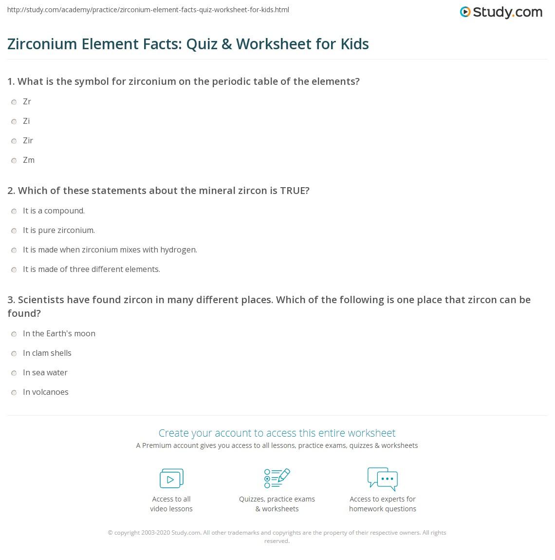 Zirconium element facts quiz worksheet for kids study print zirconium lesson for kids discovery name properties worksheet urtaz Choice Image