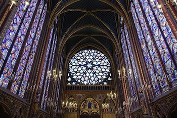 Rayonnant Interior Of Sainte Chapelle In Paris