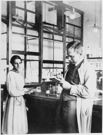 Lise Meitner and Otto Hahn in their laboratory