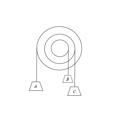A pulley mass 20 kg and having a radius of gyration of 42 cm