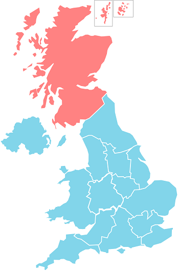 Map of Scotland and the UK