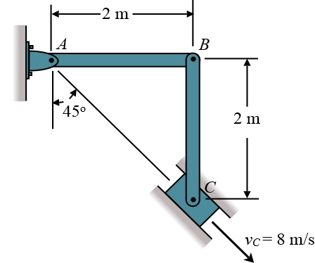 The slider block C moves at 8 m/s down the inclined groove