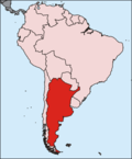 Map of Argentina in South America