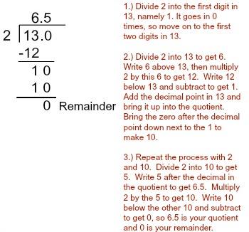 13 divided by 2 steps tutorial study com