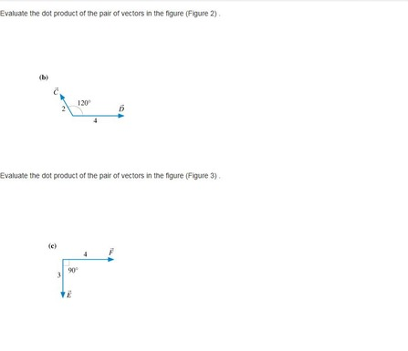 Evaluate The Dot Product Of The Vector Pairs In Figure 2 Figure 3