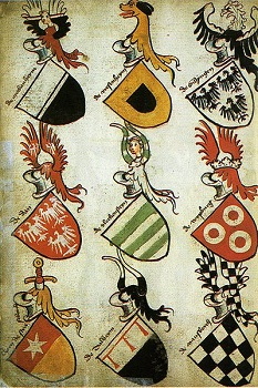 15th century German Hyghalmen Roll featuring different coats of arms