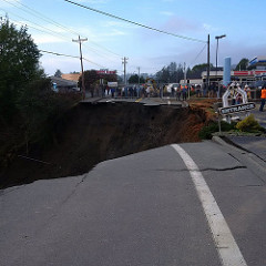 Large Sinkhole that Swallowed Part of a Road