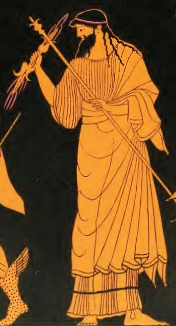 Image of Zeus on ancient Greek vase