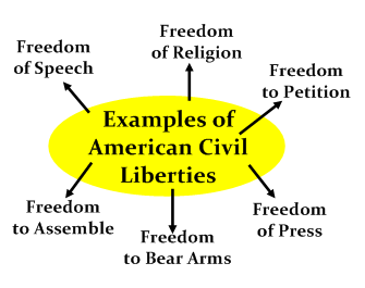 the examples of civil liberties and civil rights Civil liberties and civil rights essay  and the right to vote are all examples of civil liberties that every american is guaranteed under the bill of.
