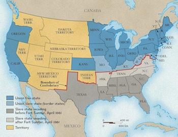 The Union The Confederacy Map Major Events Study Com
