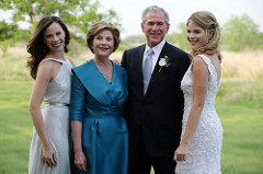 Barbara, Laura, George and Barbara Bush