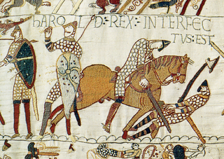 Part of the Bayeux Tapestry, a Norman artwork that depicts the conquest of the British Isles
