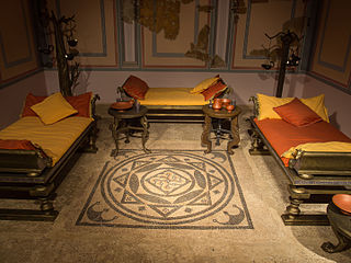 Re Creation Of A Roman Banqueting Room With Reclining Couches