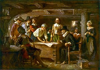 The Mayflower Compact being signed