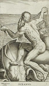 A drawing of the Greek god Oceanus.