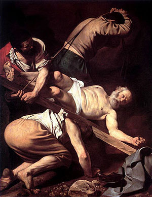 Caravaggio painting depicting the crucifixion of St. Peter