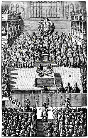 Drawing of trial of Charles I from British Museum