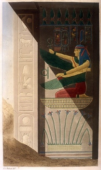Drawing of Maat in front of the tomb of Ramses III