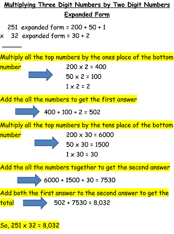 Multiplying By Two Three Digit Numbers Lesson For Kids Study