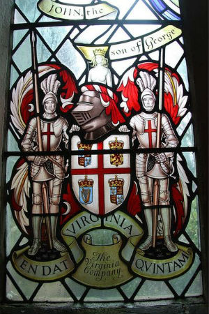 Stained glass window depicting the coat of arms of the Virginia Company
