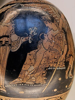 Image of Greek pottery depicting Hera from British Museum, photography by Marie-Lan Nguyen