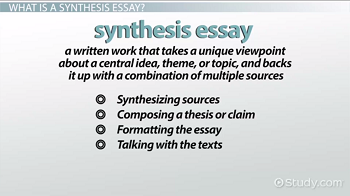 Sample Essay English Synthesis Essay Components Argumentative Essay Thesis Examples also Essay On Health How To Write A Synthesis Essay Definition  Example  Video  Thesis Persuasive Essay