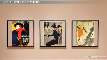 Posters on display in art gallery