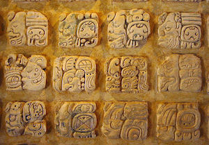 Some of the glyphs that were the Maya written language.