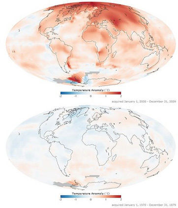 A NASA-generated map of changes in global temperature between 1970 and 2000.