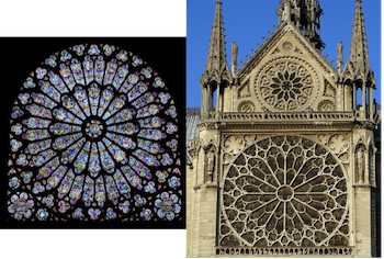 Interior And Exterior Views Of Rayonnant Style Rose Windows Notre Dame In Paris