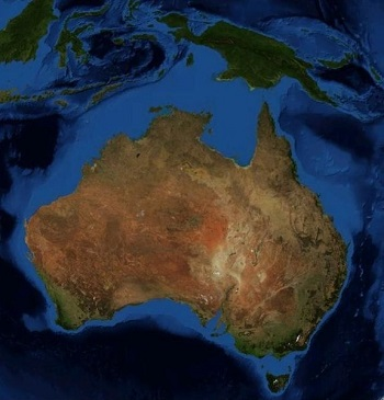 The Australian Continental Shelf (Light Blue)