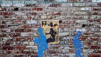 Poster glued to brick wall