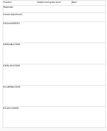 5e lesson plan template for math for 5 e model lesson plan template