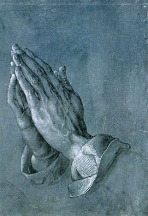 Image of praying hands by Albrecht Duerer.