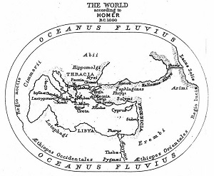 An ancient world map depicting the great river of Oceanus encircling it.