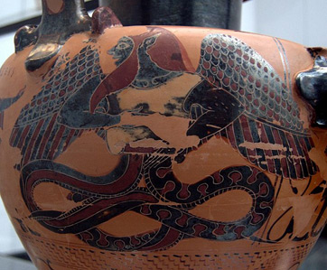 A vase painted with the image of Typhon