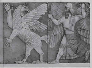 A carving of Marduk fighting a monster