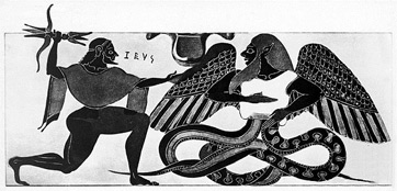 An illustration of Typhon fighting with Zeus