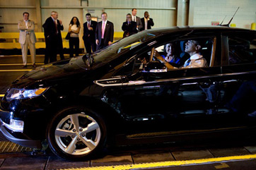 Barack Obama in a Chevy Volt (Electric Car)